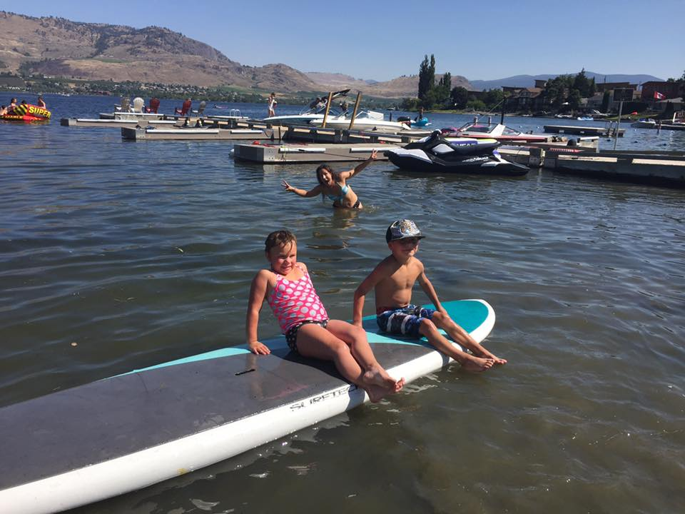 Kids on surfboard